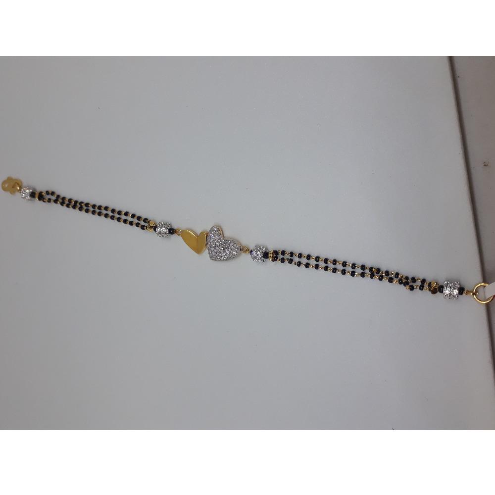 916 Gold CZ Heart Design Mangalsutra Bracelet IO-B004