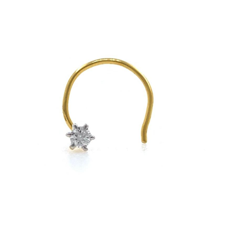 18kt / 750 yellow gold classic single 0.03 cts diamond nose pin 9np61