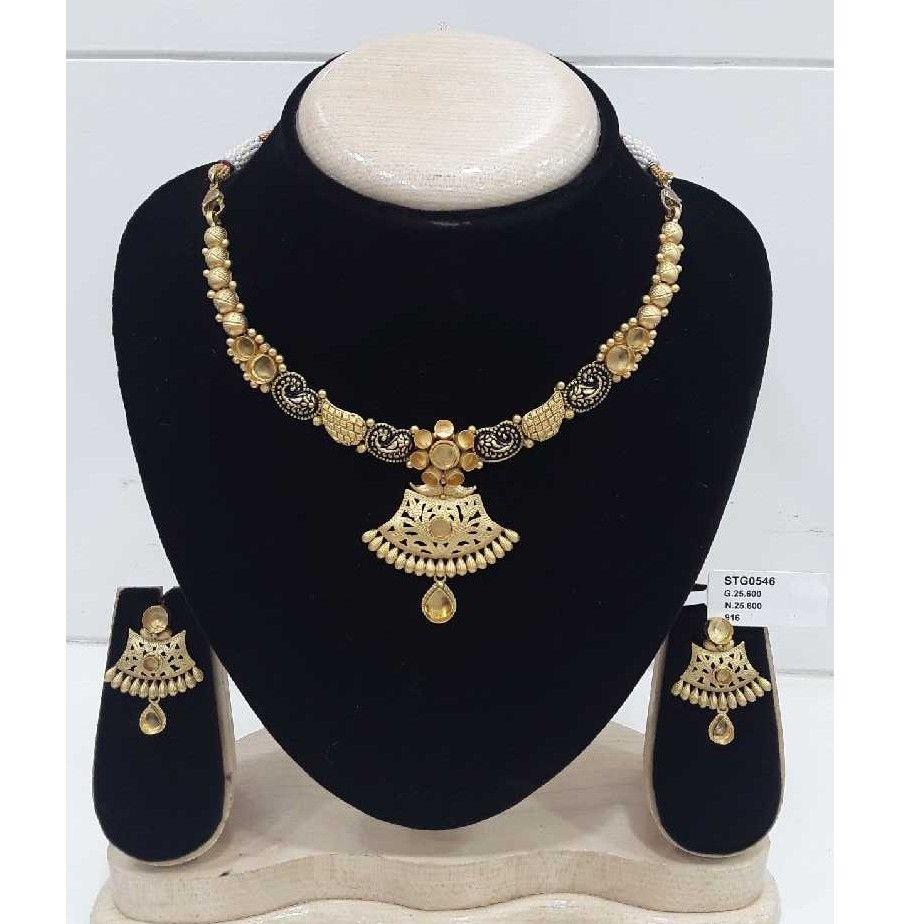 22crt Light Weight Antique Jadtar Rajkot Design Khokha