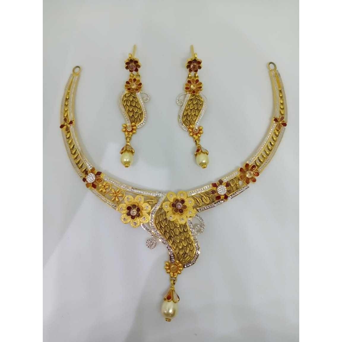 22kt gold fancy rodiuem necklace set bj-n15