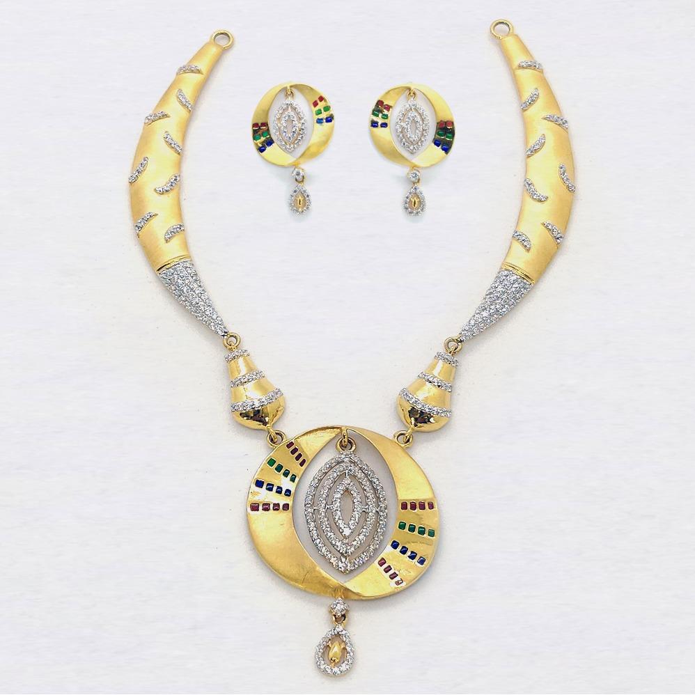 22KT CZ Gold Necklace Set SK-N012
