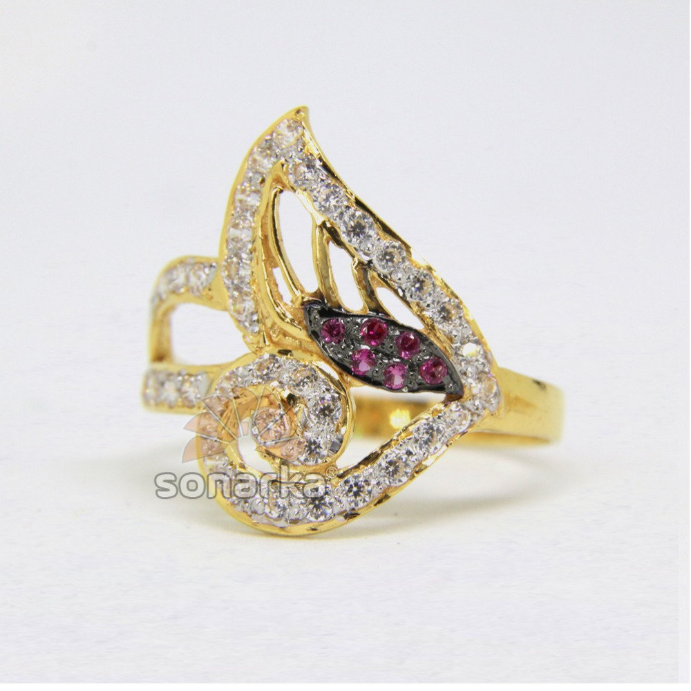 22ct Hallmarked Gold Ladies Ring Studded with CZ Stones Rodihum