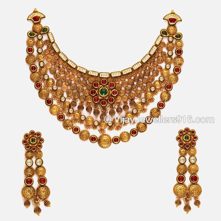 916 Gold Modern Bridal Choker Necklace Set