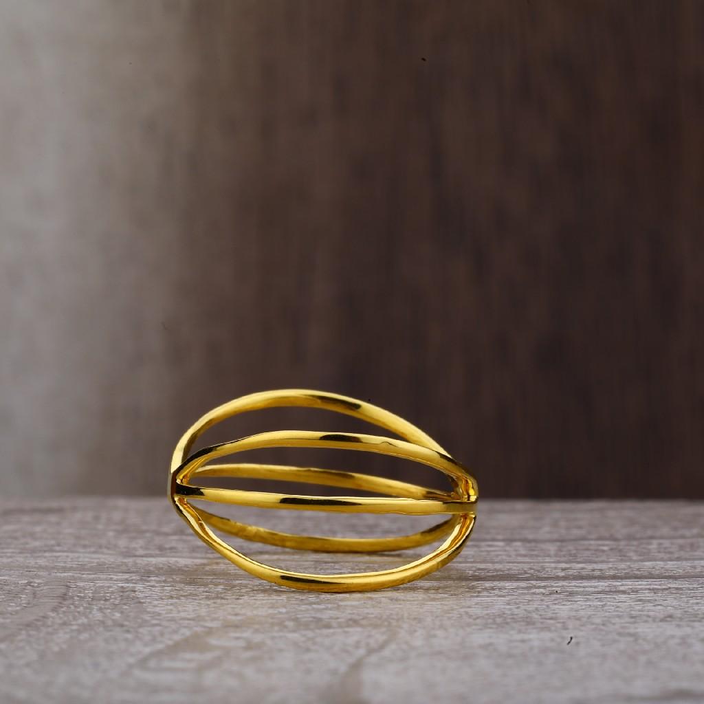 Ladies 22K Plain Gold Cz Ring-LPR160