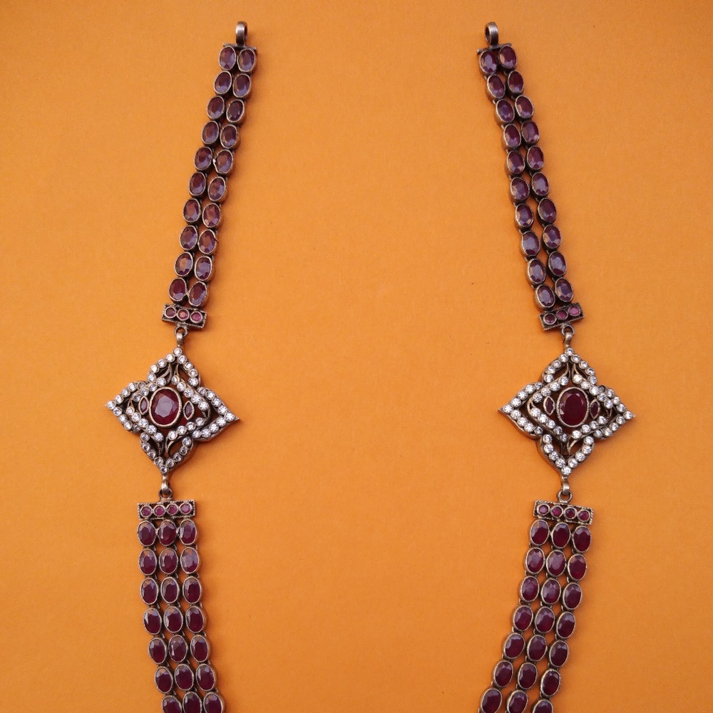 Pure Silver Toda Necklace with Three Layered Spinel Stones |Puran