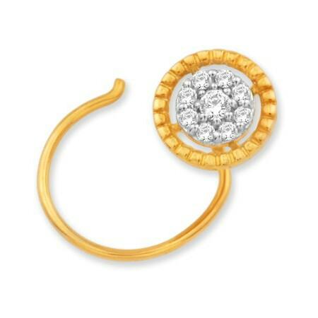 18k gold real diamond nosepin mga - rn0015