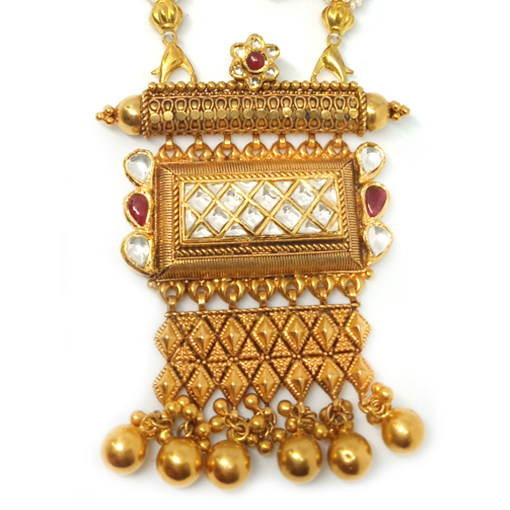 916 Gold Antique Jaisalmeri Pendant Set - LJ-11