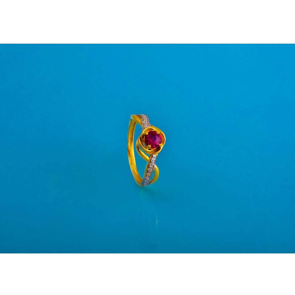 916 gold cz colour stone ladies ring