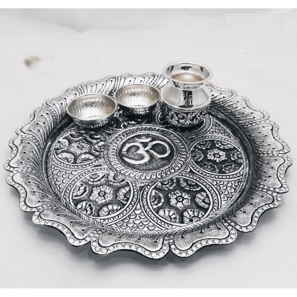 925 Pure Silver Antique Pooja Thali Set PO-263-23