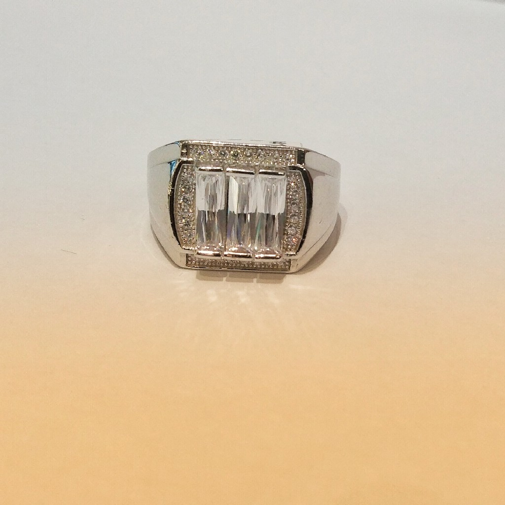 925 Solitaire Square Sterling Silver Ring For Man