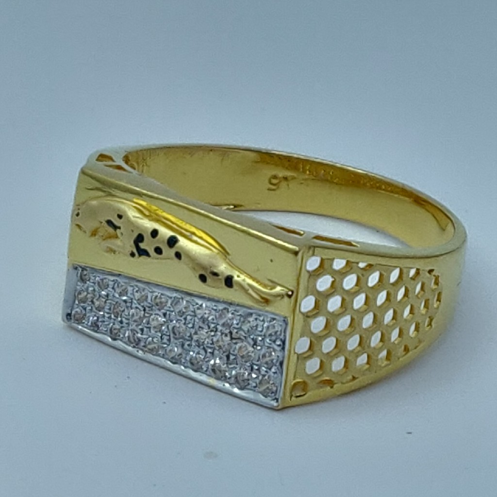 22k rhodium plated fancy gents ring