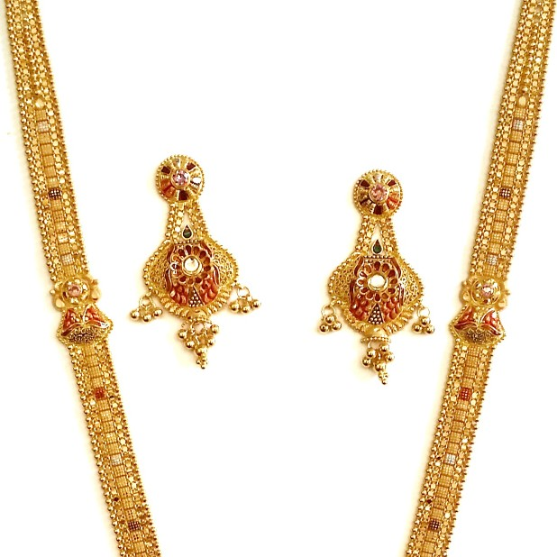 916 Gold Kalkatti Long Necklace With Earrings MGA - GLS050