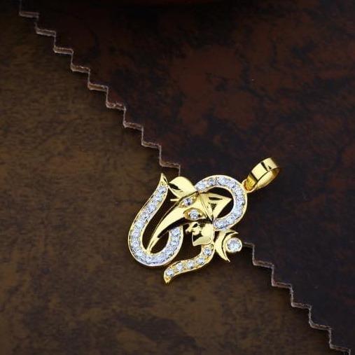 916 Gold CZ OM Ganpati  Chain Pendal RH-CH55
