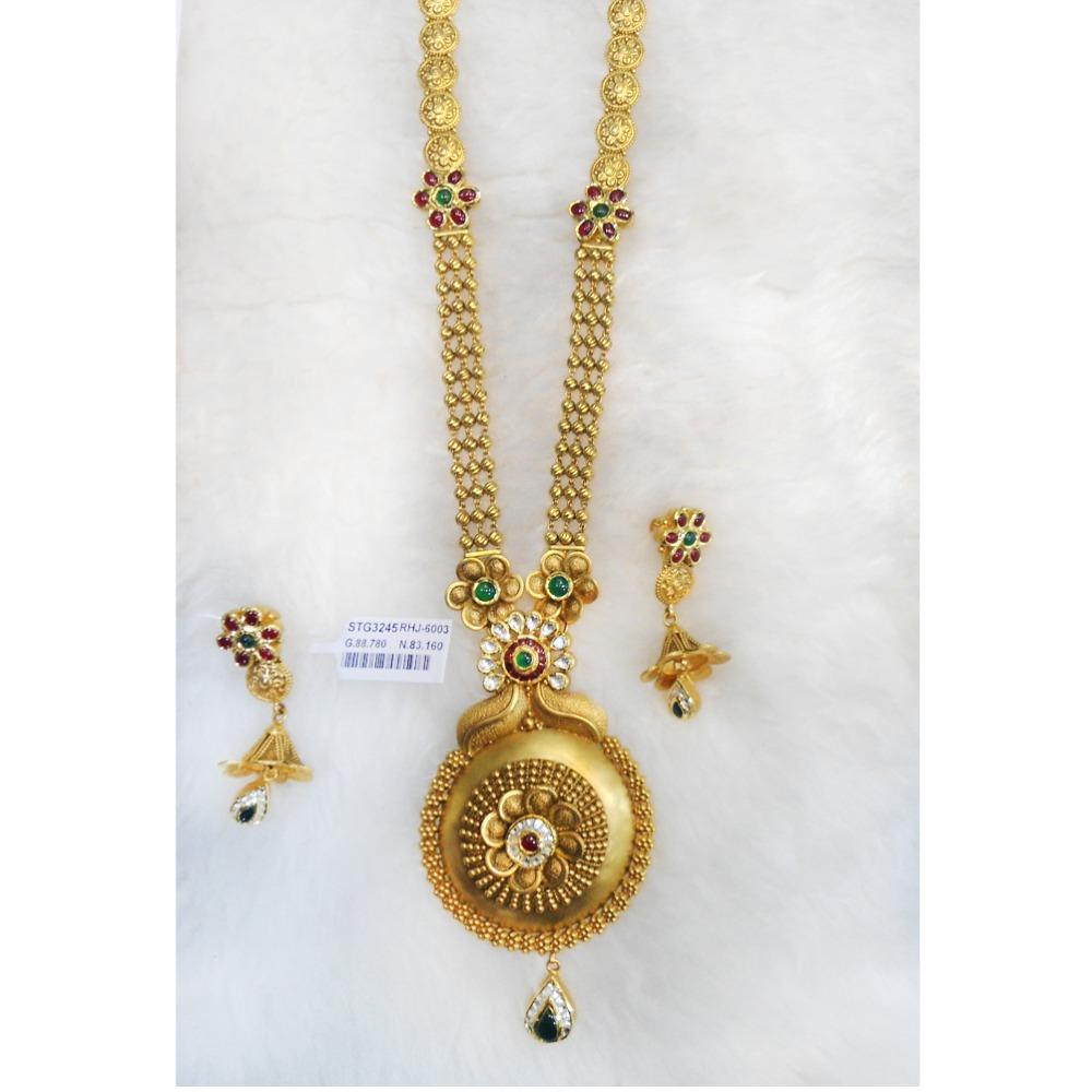 916 Gold Antique Bridal Long Necklace Set RHJ-6003