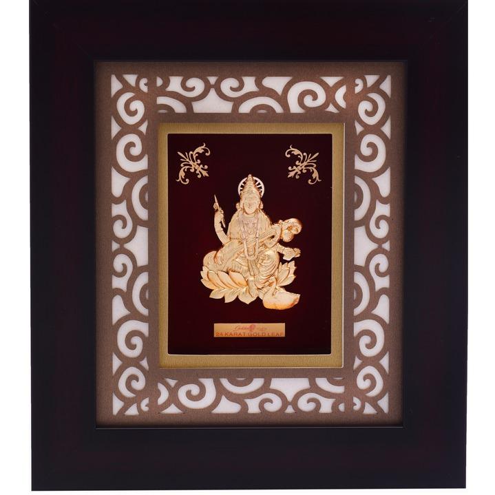 22K Gold Plated Sarswati Goddess Photo Frame AJ-19