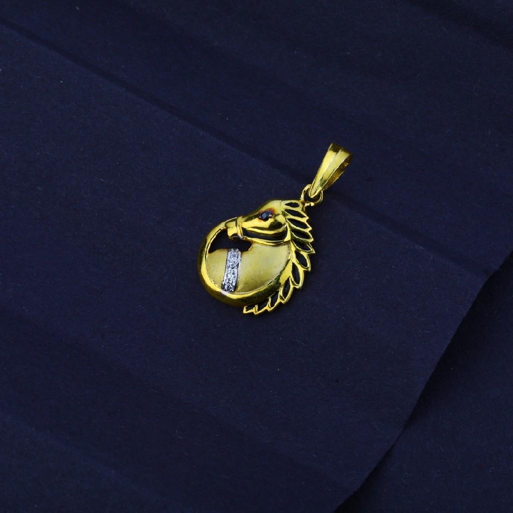 Men's Exclusive 916 Fancy Horse Gold Pendant- MFP08
