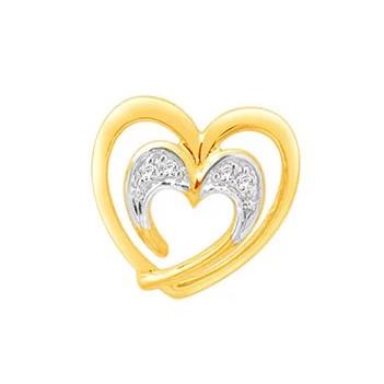 18k gold real diamond heart shape earring mga - rde0011