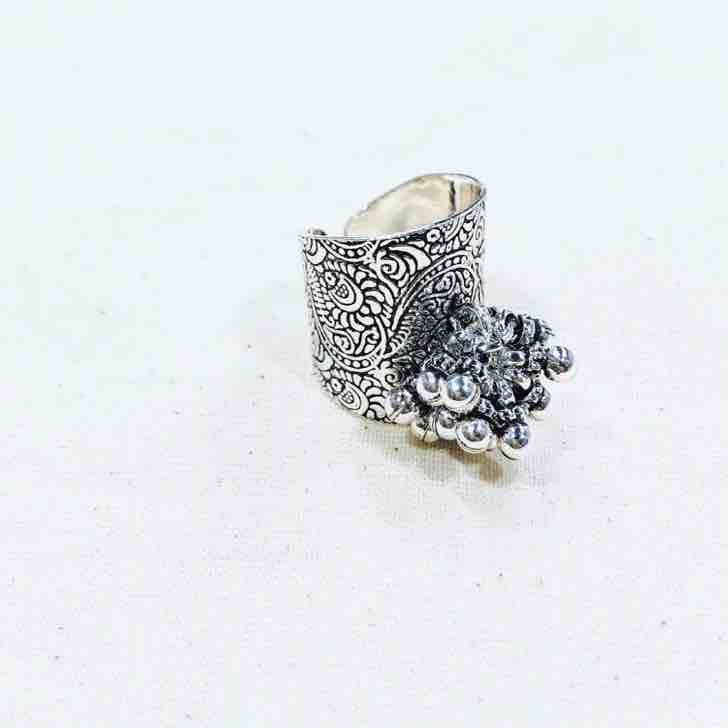 Antique Oxodise polish Adjustable 925 sterling silver ladies ring