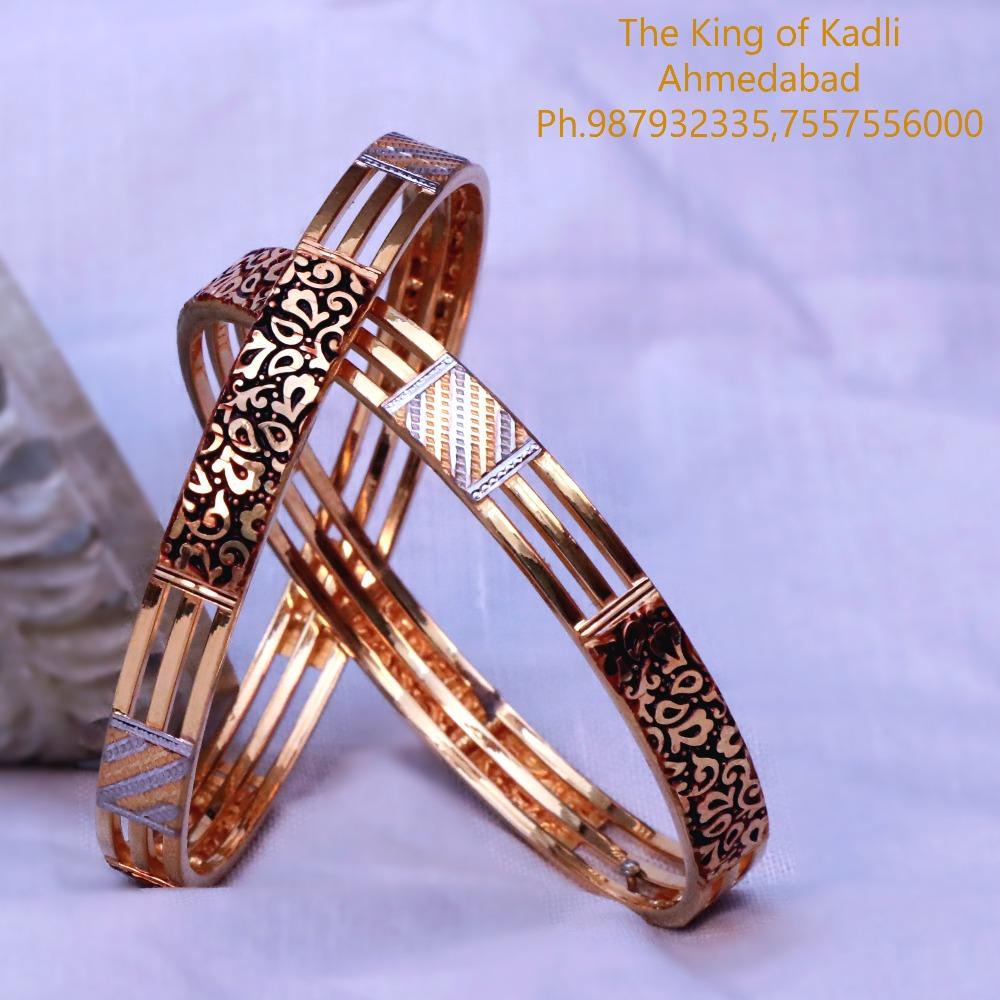 22Kt Gold Antique Triple Pipe Copper Kadli Bangle