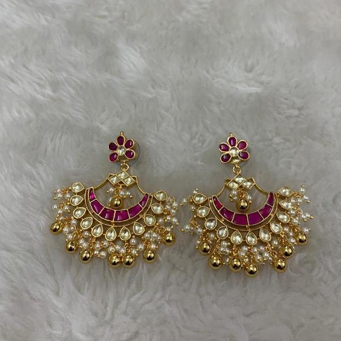 Designer Pink Stone Kundan Earrings