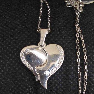 925 Sterling Silver Heart Designed Pendant Chain