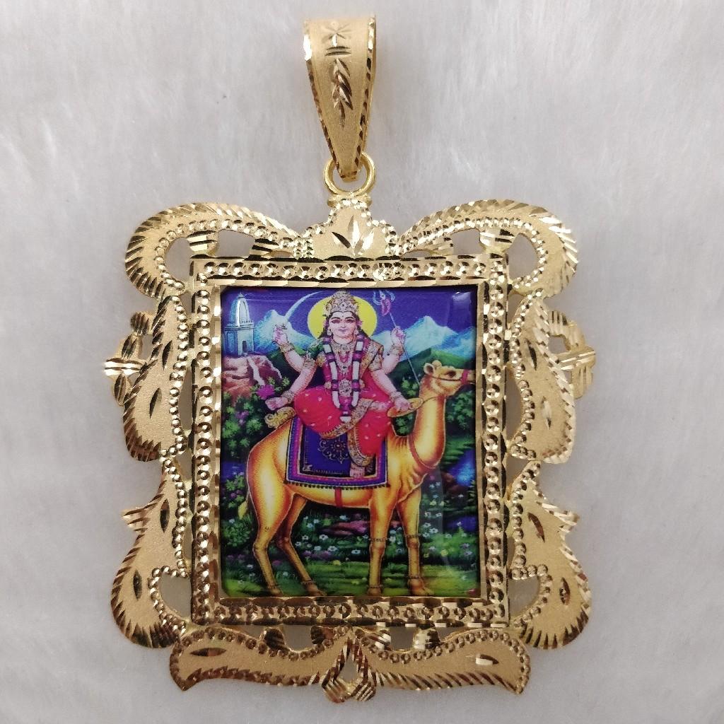 916 Gold Fancy Gent's Momai Maa Photo Frame Pendant