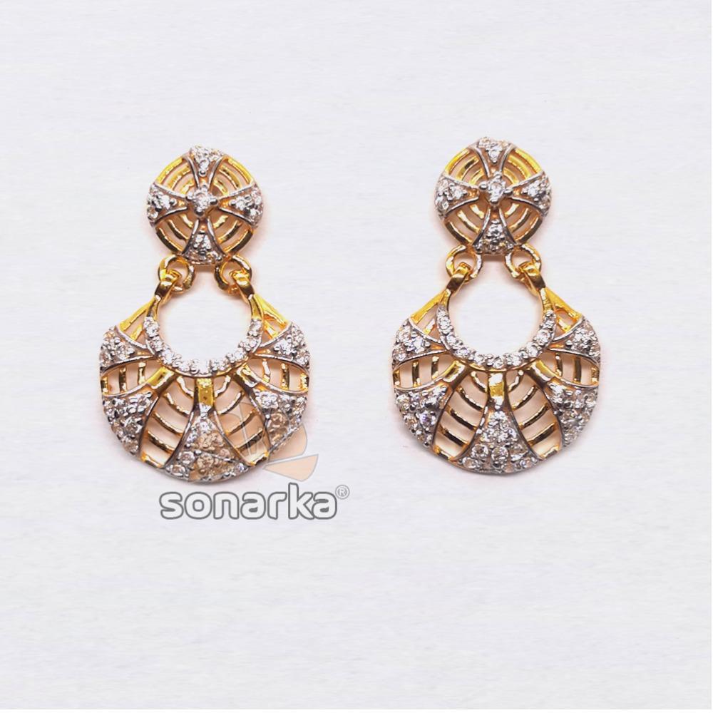 916 Gold Fancy CZ Diamond Ladies Earings