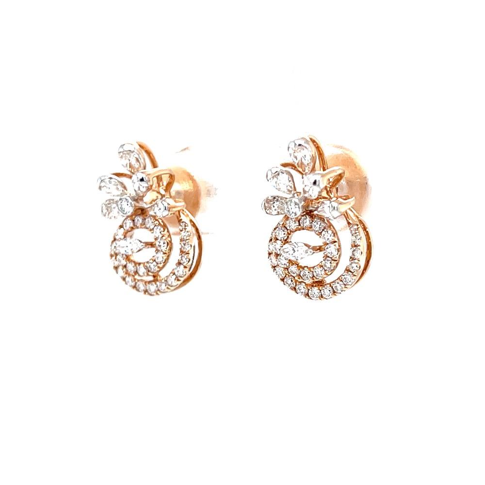 Preciosa stud in marquise pear and round diamond