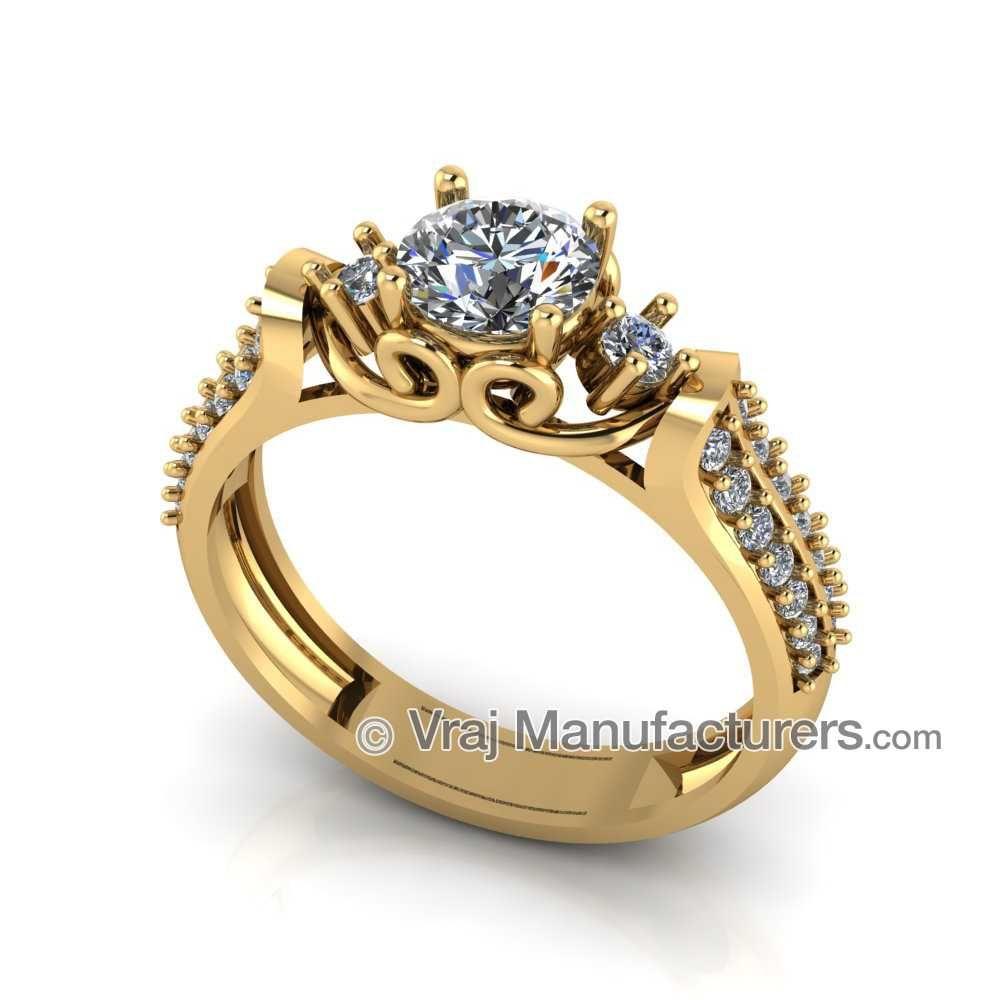 916 Gold Diamond Engagement Ring