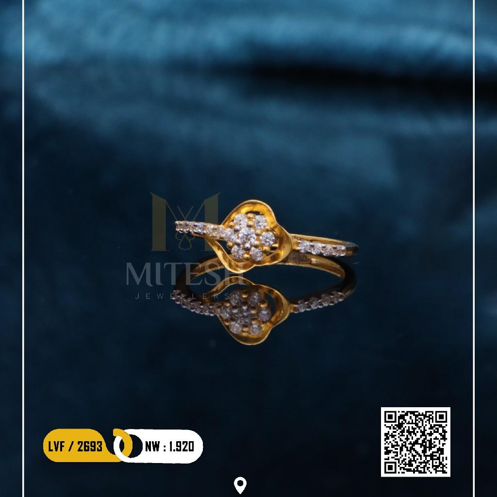 22k/916 LADIES CZ GOLD RING