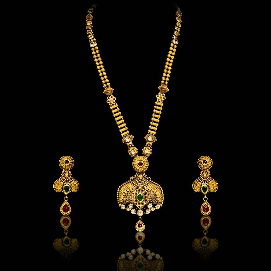 22Kt Gold Hallmark Long Necklace Set