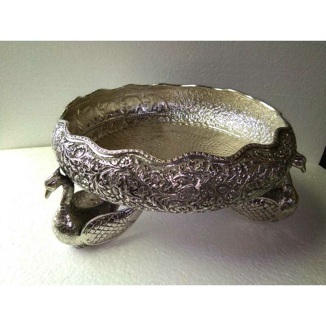 Antique Oxodize Handmade Nakshi Peacock & Duck Type Water Bowl Ms-2463
