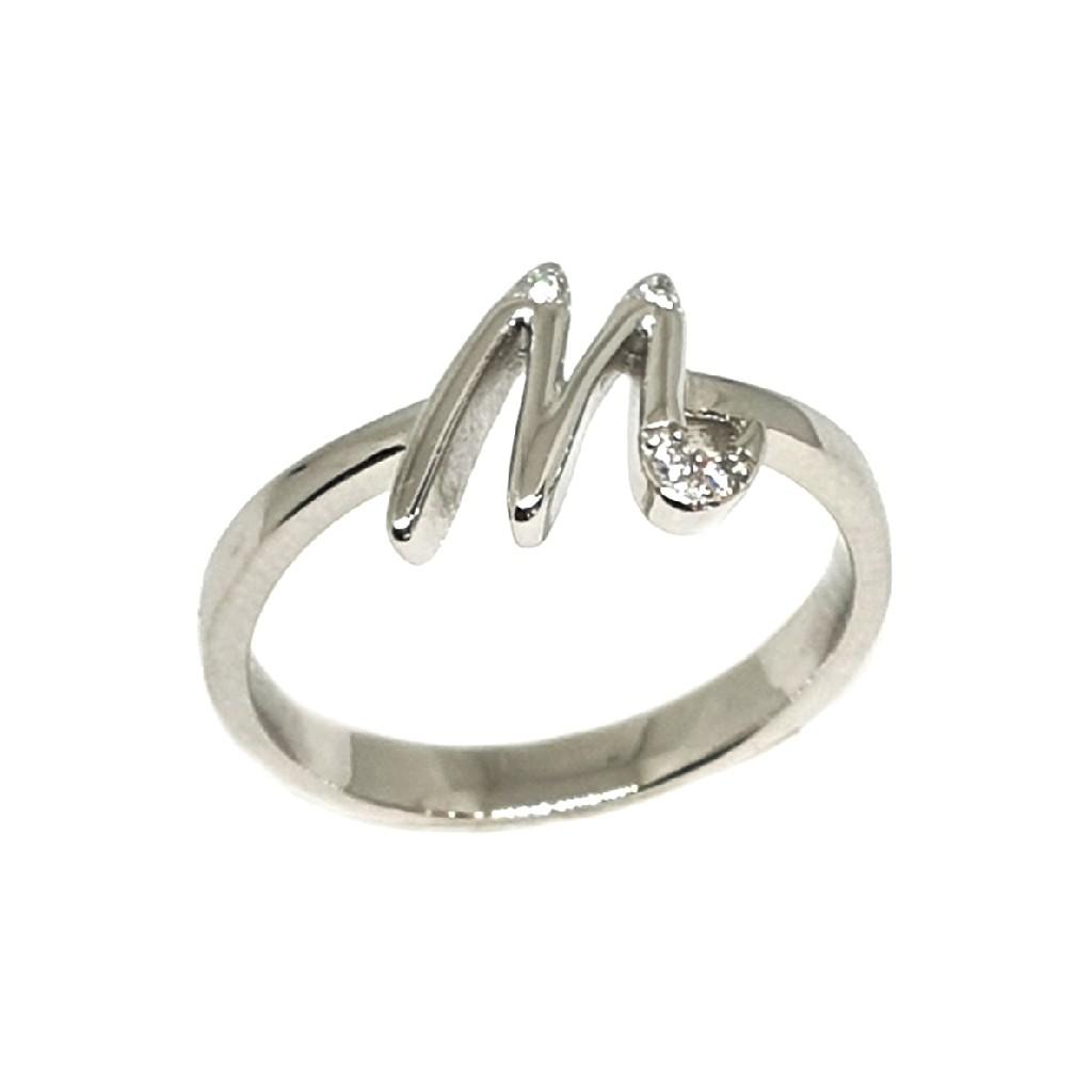 q925 Sterling Silver Alphabet Latter (M) Ring MGA - LRS3382