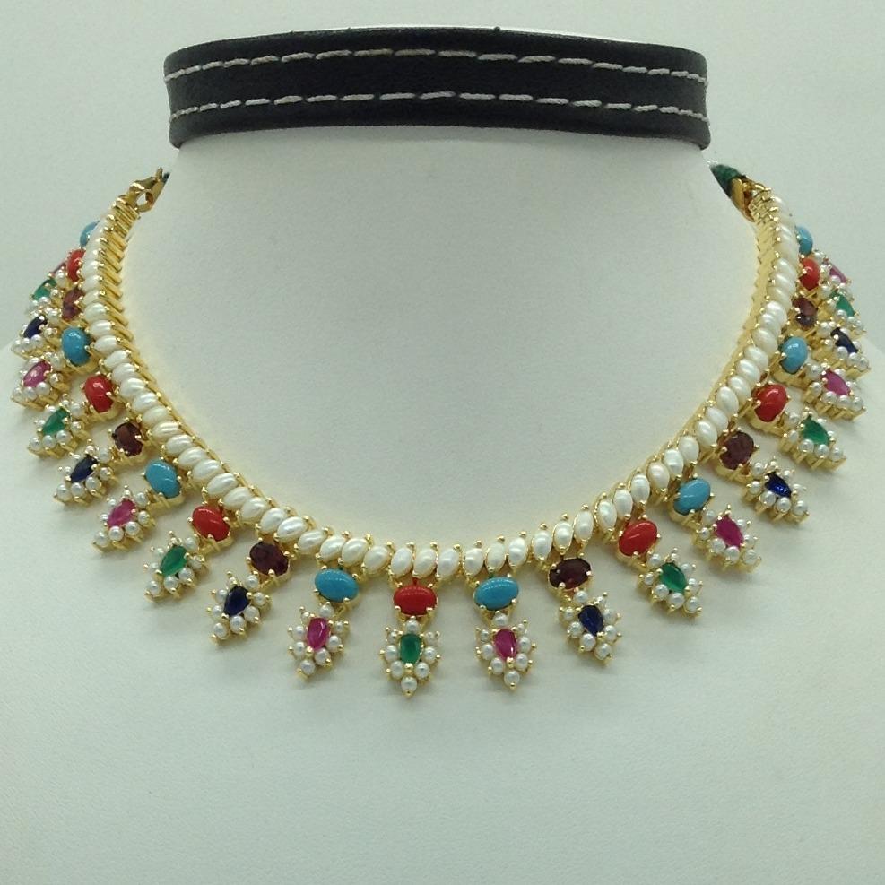 Navratan andWhite Button Pearls Necklace Set JNC0115