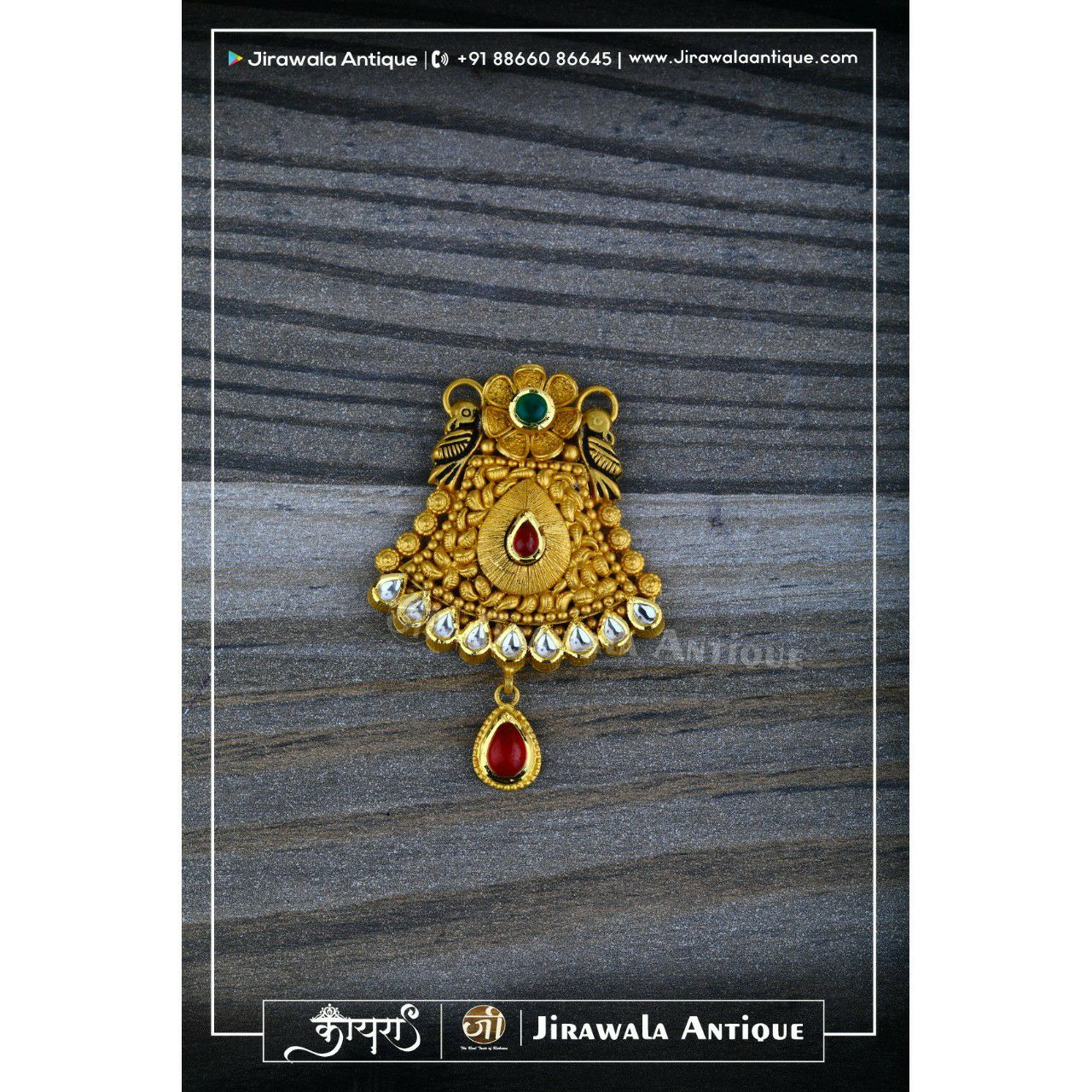 Antique Jadtar Mangalsutra Peandat With Peacock Design