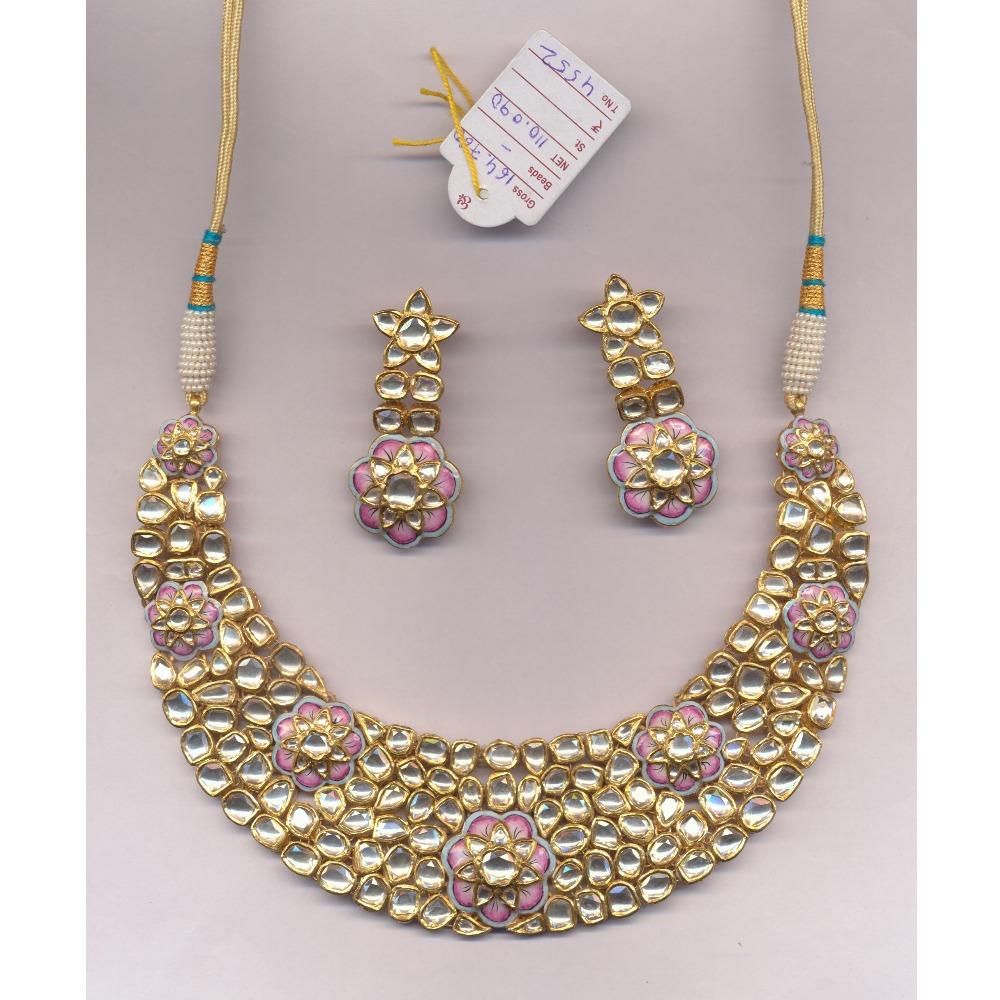 916 Gold Kundan Necklace Set From Rajkot