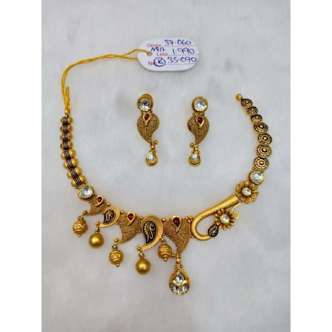 22kt gold antique necklace set sj - an013