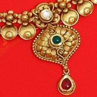 22KT / 916 Gold Antique wedding Half Necklace set for Ladies STG1020