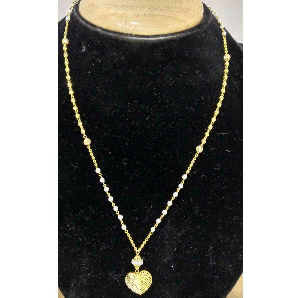 916 Vertical Gold Long Heart Shape Pendant Mala