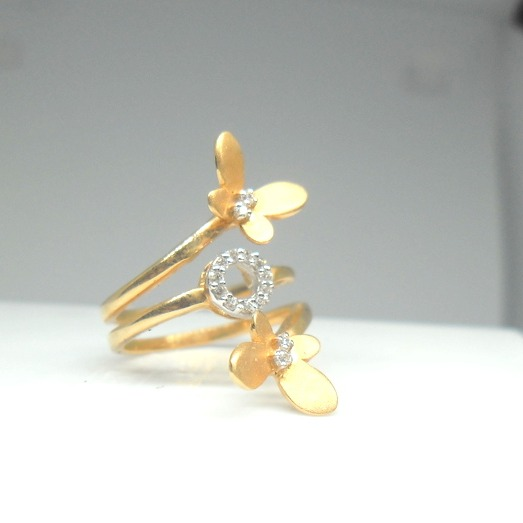 18KT Yellow gold butterfly shape special Occasion ring for ledies LRG0399