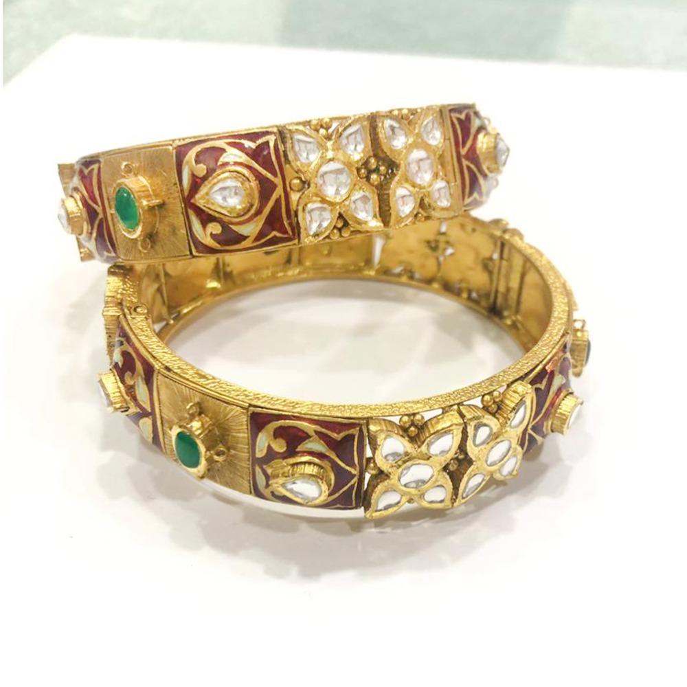 916 Gold Antique Studded Kadla
