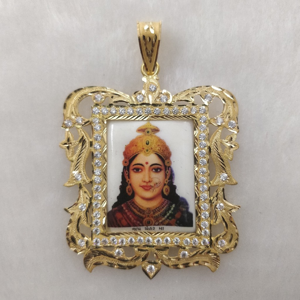916 Gold Chehar Maa Photo mina Pendant
