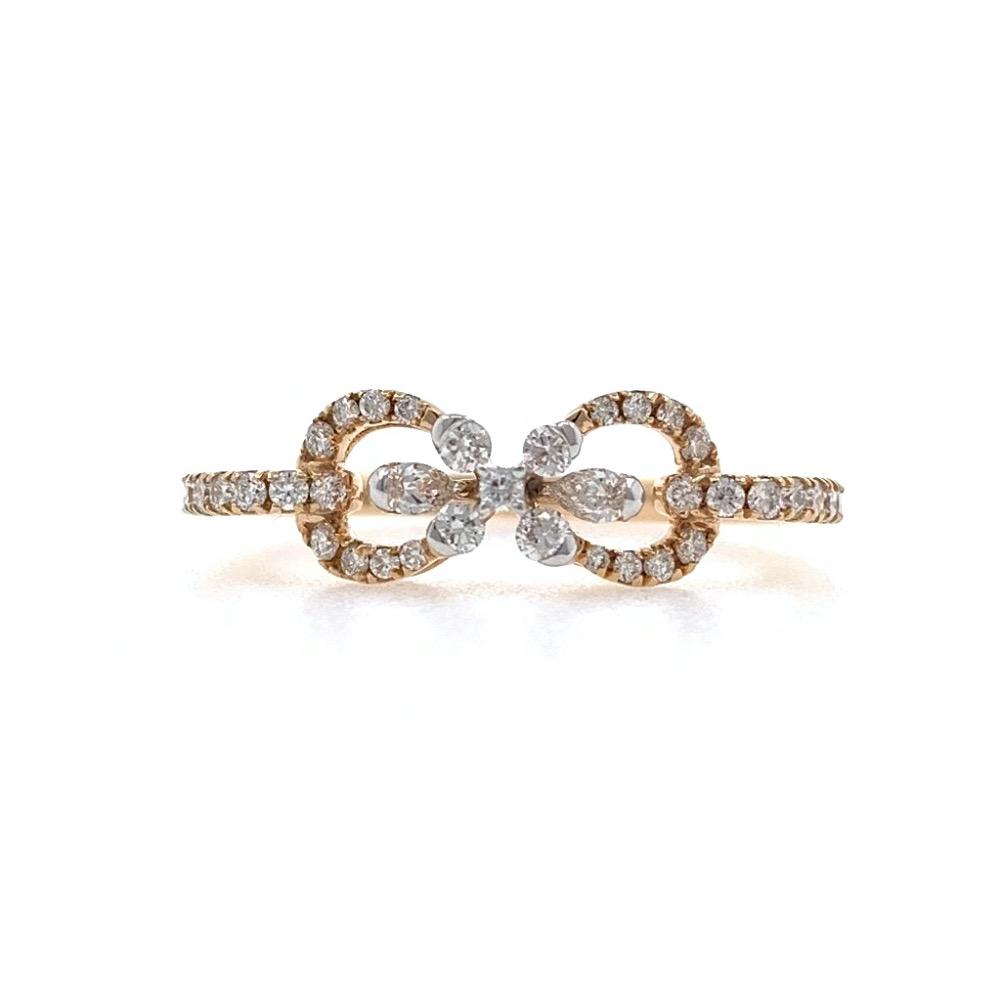 Infinity Knot Diamond Ring in 18k Rose Gold - 2.330 grams - 0.40 carats - 0LR70