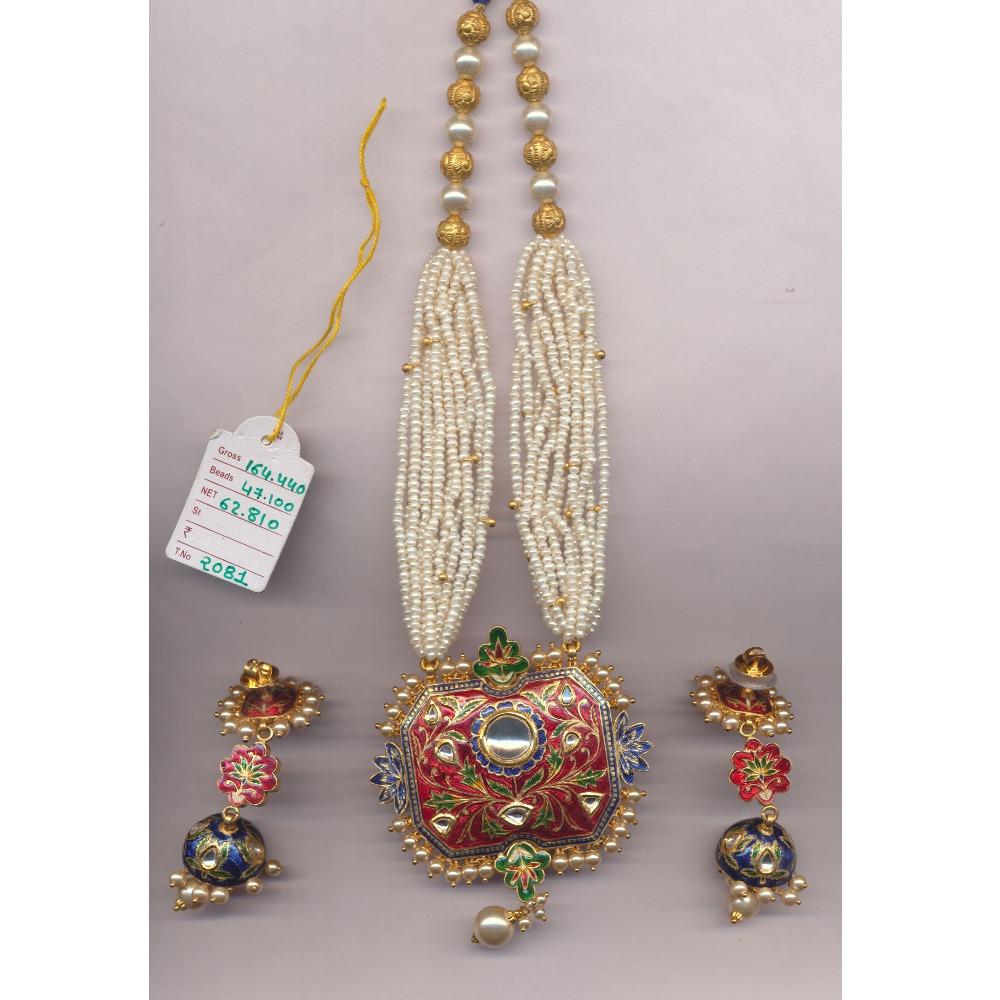 22K Gold Meenakari Necklace Set From Rajkot