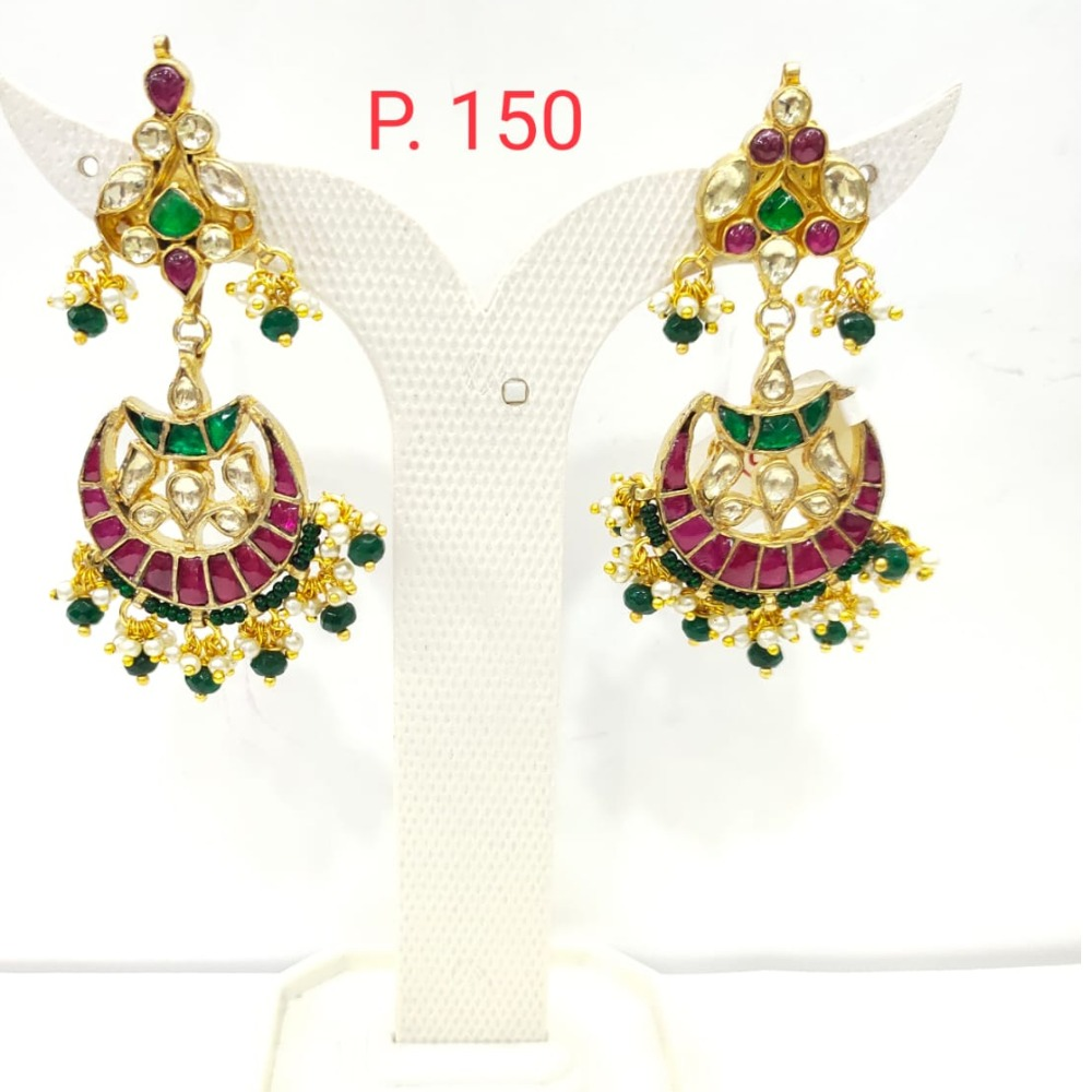 Moon shape Pink & Green Stone kundan Earring with hanging Pearl 1529