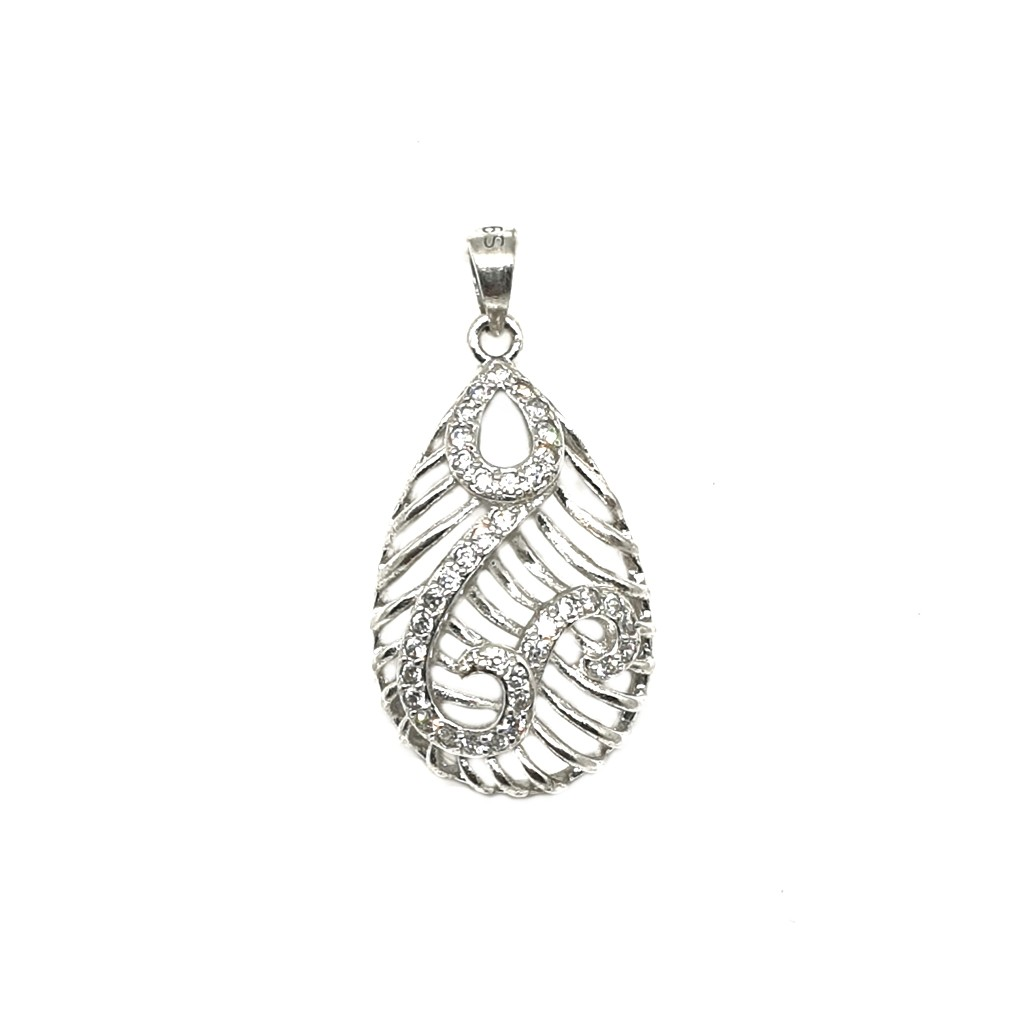 925 Sterling Silver Pear Shaped Pendant MGA - PDS0054