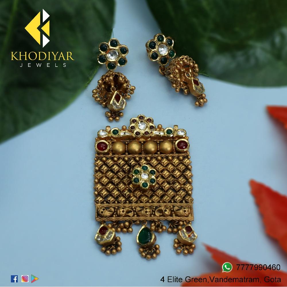 916 Gold Antique Bridal Pendant Set KJ-PS001