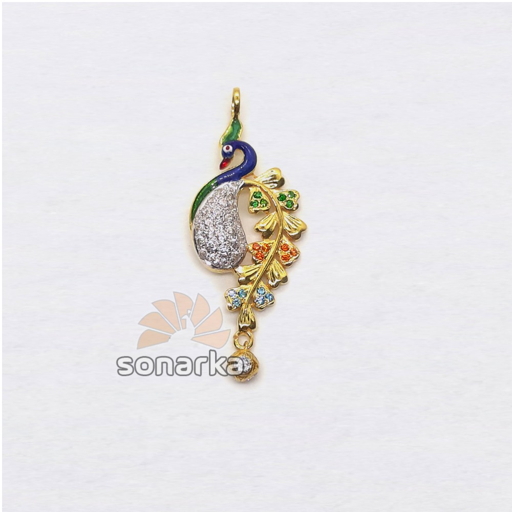 22KT Gold Colourful Peacock Shaped CZ Diamond Pendant