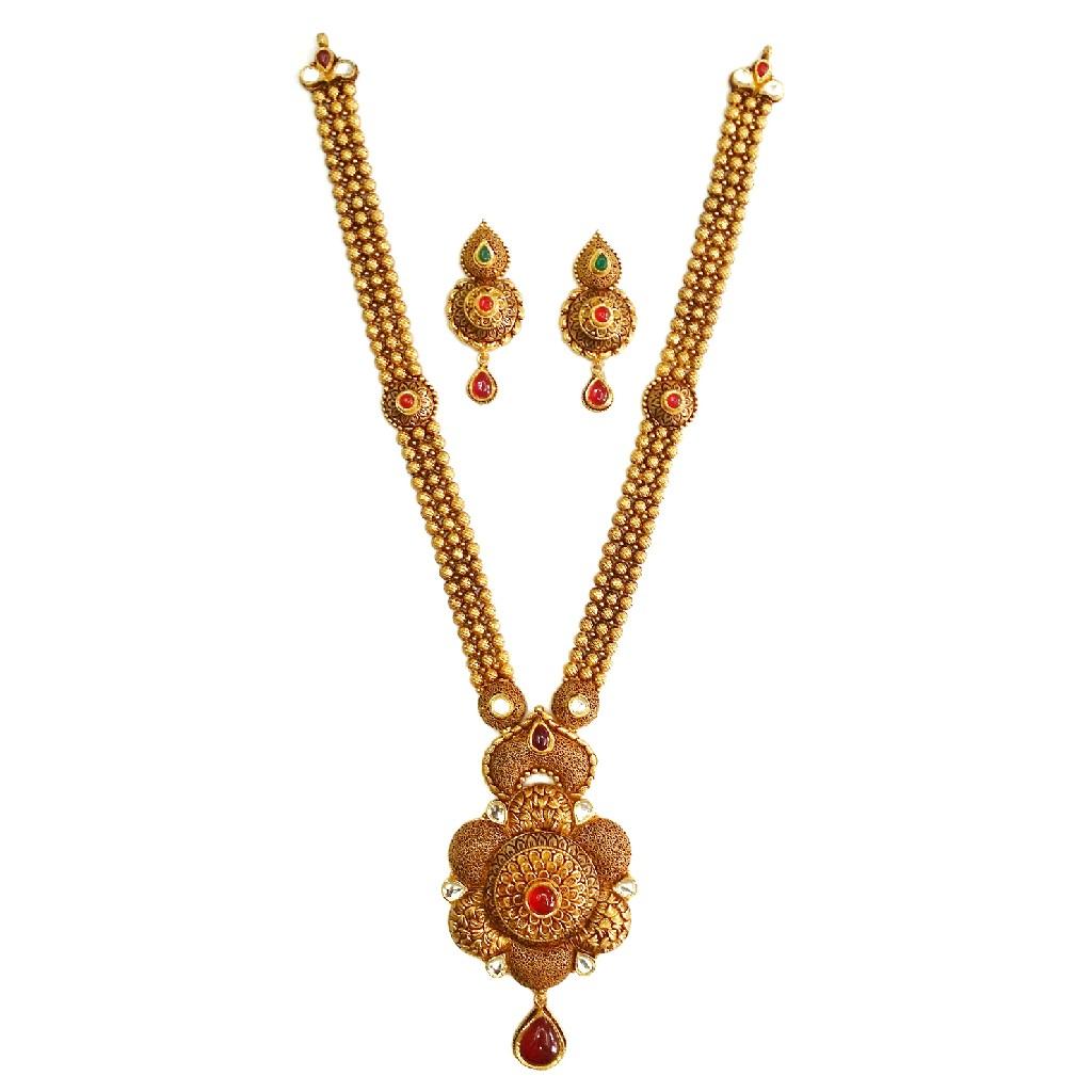 22k Gold Flower Shaped Antique Rajwadi Necklace Set MGA - GLS055