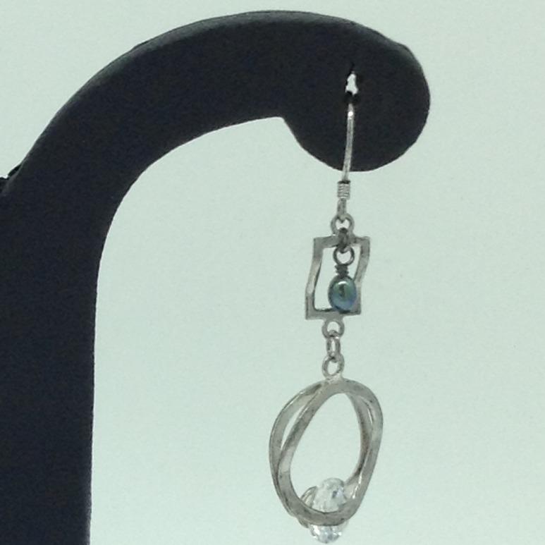 Pearl CZ SilverEar HangingsJER0152